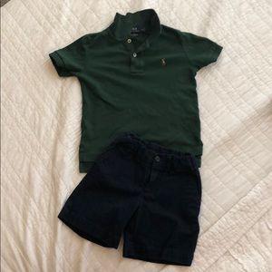 Polo Ralph Lauren navy chino shirt and green polo